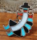 VINTAGE KOKOPELLI - Hopi Dancer INLAY RING